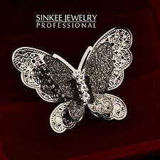 Big Black Butterfly Rings for Women Adjustable Size 2016 Fashion Jewelry JZ217