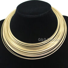 RUNWAY Egypt Cleopatra 80s Multi Memory Fine Wire Collar Choker Bib Necklace W7