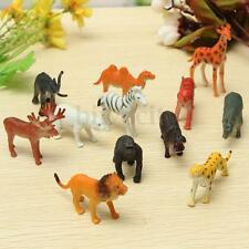 12 Small Plastic Zoo Safari Wild Animals Model Lion Tiger Leopard Hippo Giraffe