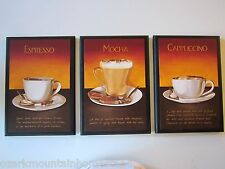 Coffee Mocha Espresso Cappuccino Latte Kitchen Wall Decor Plaques 3 cafe signs
