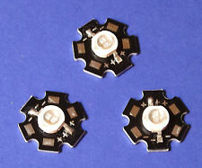 3 X 5W 365nm UV POWER  LED on HEATSINK Kühlkörper Emitter  5mm Geldschein Money