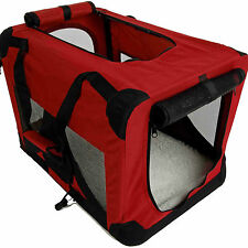 "36"" Burgundy Portable Pet Dog House Soft Crate Carrier Cage Kennel w/Carry Case"