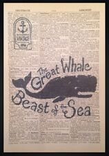 Vintage Whale Dictionary Page Print Picture Art Nautical Seaside Beach Fish