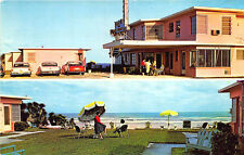 "Daytona Beach FL ""Sands and Caravans"" Motel Old Cars Duo-View Postcard"