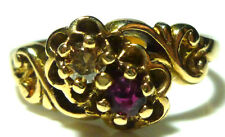 "DESIGNER ""SB"" VICTORIAN NOUVEAU COGNAC BROWN DIAMOND RUBY WOMENS RING SIZE 6.5"