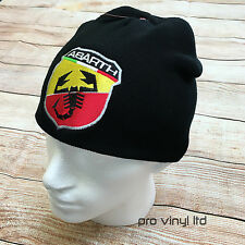 Fiat Abarth Embroided Classic Black Beanie Hat 500 Punto Evo Scorpion Winter