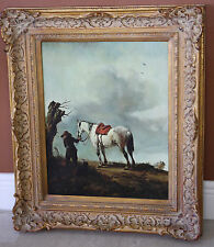THE WHITE HORSE BOY DOG DUTCH PAINTING BY PHILIPS WOUWERMAN WITH GOLD FRAME