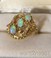 14K OPAL RING 60s vtg yellow gold openwork sz 9 natural solid Australian gems