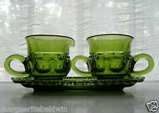 Indiana Glass Green Kings Crown Creamer Pitcher & Sugar Bowl & Under Plate Tray