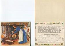VINTAGE RECIPE INDIAN PUDDING MAINE POTATO CHOWDER COLONIAL COOK FIREPLACE CARD