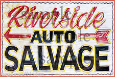 WALL MOUNT METAL RIVERSIDE SALVAGE BUILDING STORE DIORAMA LAYOUT SIGN 3x2