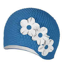 Bubble Crepe Cap with  Flowers Swim Cap (Blue)