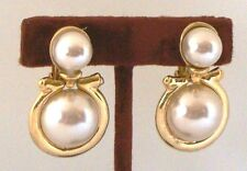 Vintage NEW Clip DANGLE EARRINGS Goldtone with 2 Faux PEARLS 2