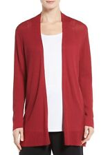 NEW Eileen Fisher Ribbed Silk & Organic Cotton Cardigan- Red M
