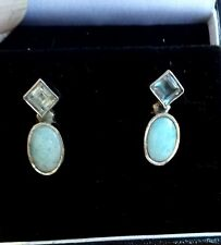 Hand Made Sterling Silver, Dominican Larimar & Blue Topaz Ear RIngs