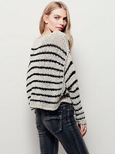 NWT FREE PEOPLE SzL OVER & EASY STRIPED CROPPED PULLOVER SWEATER WHEAT BLACK$128