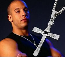 Fast and Furious Dominic Classic Male Rhinestone Cross Pendant jewelry Necklace