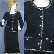 EXQUISITE! ST JOHN COUTURE KNIT BLACK JACKET SILK LINED SZ 2 MINT!