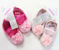 Baby Girl Satin & Flower Bow Ballet Shoes White or Pink 0-3 -3-6 -6-12 Month