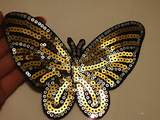2 large butterfly patches sequin applique patch motif sew on gold craft UK