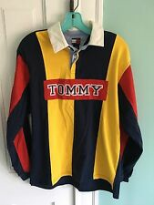 Vintage 90s Tommy Hilfiger Spell Out Tommy Rugby Polo Shirt Flag Wmns L, Mens Sm
