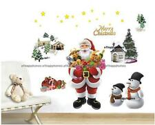 Christmas Santa Claus Wall Stickers Snowman Removable Vinyl Art Decal Nursery