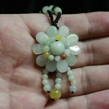 100% Natural Untreated  A  Beautiful Handmade JADE Flower Pendant Necklace #P209
