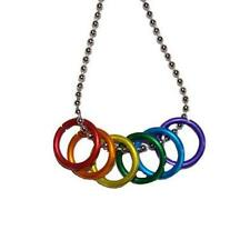 "FREEDOM RINGS NECKLACE 20"" Stainless Steel Chain LGBT PRIDE Gay Lesbian Rainbow"