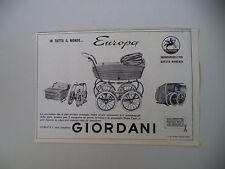 advertising Pubblicità 1962 CARROZZINA PASSEGGINO GIORDANI EUROPA