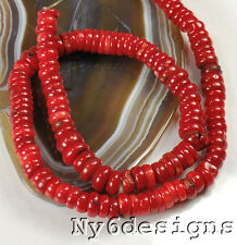 "8x4mm Red Natural Sea Coral Heishe Beads 15"" (CO164)b"