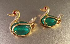 Vtg TRIFARI Flawed Emerald Swan Rhinestone Brooch Pair, Philippe Jewels of India