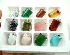 Beautiful Rectangle Mixed agate Gemstone Pendant Reiki Healing AB_8