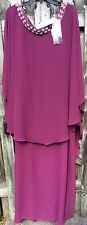 Capri By Mon Cheri NWT Formal Prom Raspberry Chiffon Dress Sz 22W Rhinestones