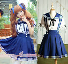 Girls Blau School Maid Costume Cosplay Kostüm Student Uniform Sailor Dress WSJ28