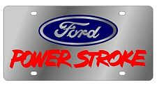New Ford Power Stroke Red Logo Stainless Steel License Plate