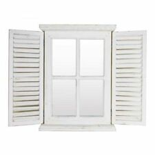 White French Provincial Shutter Frame Rustic Vintage Louvre Door Wall Mirror