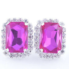 Fashion White Gold PlatedPink Big Square Crystal Clean CZ Stud Earrings