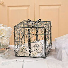 Black Gift Box w/Bow Metal Wedding Card Holder Wishing Well Reception Money