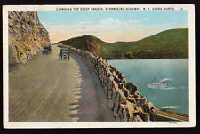 NEW YORK NY 1927 Storm King Highway Going North Cars Boat Hudson River Postcard