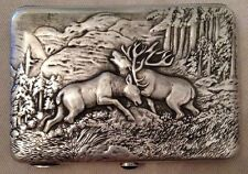RUSSIAN 84 SILVER CIGARETTE CASE - DEER FIGHT - Beautiful details - MUST SEE