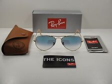 RAY-BAN AVIATOR GRADIENT SUNGLASSES RB3025 001/3F GOLD FRAME/BLUE LENS 55MM