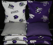 ALL Weather KANSAS STATE WILDCATS CORNHOLE BEAN BAGS 8 Resin Filled KState Bags