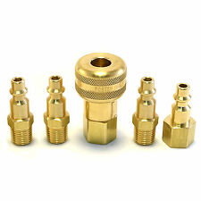 5pc Solid Brass Quick Coupler Set Air Hose Connector Fittings 1/4 NPT Tools Plug