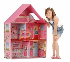 BARBIE DOLLHOUSE Girl Play Room Set Pink Modern Doll Dream House