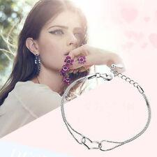 Ajustable 925 Plata De Ley Forma Corazón Amar Pulsera Cadena Joya Mujer Moda HOT
