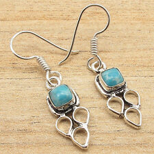 Collectible Cabochon LARIMAR Earrings Pair Silver Plated CHRISTMAS GIFT Jewelry