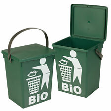 Plastic Green 5L Small Food Recycling Bin Lid Kitchen Worktop Waste Rubbish Peel