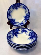 FIVE Antique Devon Alfred Meakin Flow Blue Coupe Soup Bowls ENGLAND 1907
