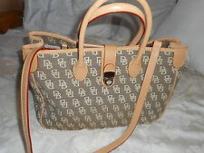 DOONEY & BOURKE  tan signature monogram canvas  leather trim tote bag /shoulder
