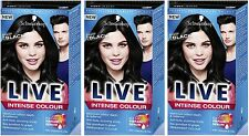 Schwarzkopf LIVE Intense 099 Deep Black Pro Permanent Hair Colour Dye x 3